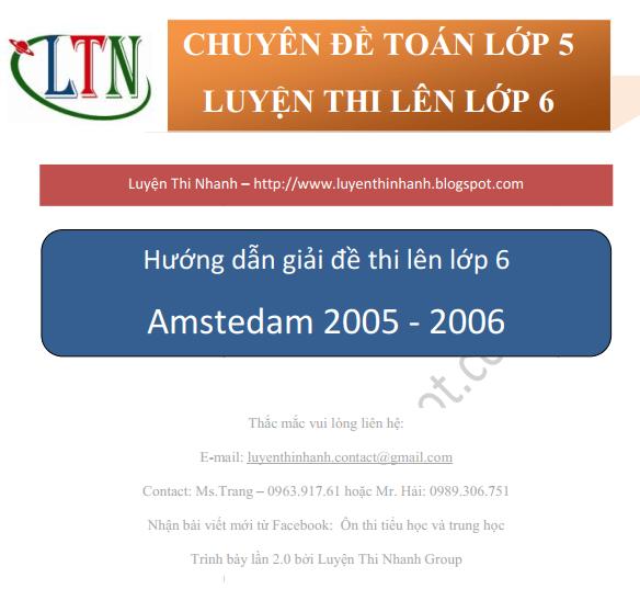 Đáp án đề thi vào lớp 6 trường Amsterdam Hà Nội 2005 – 2006