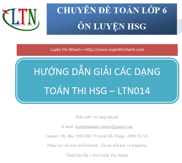 Đề thi toán cuối kỳ lớp 6 có đáp án – LTN014