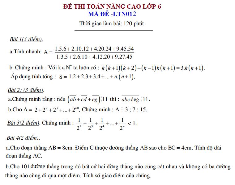 Đề thi toán nâng cao lớp 6 có đáp án – LTN012